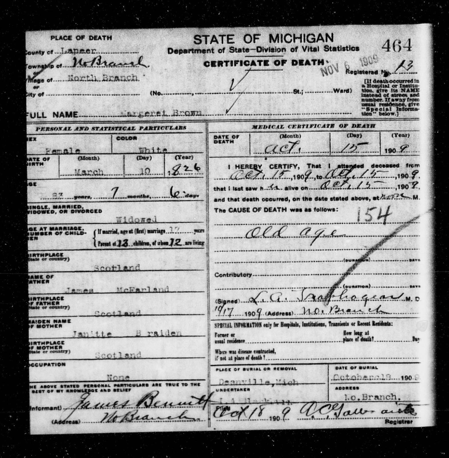 Climbing My Family Tree: Death Certificate for Margaret McFarlane Bennett Brown 15 October 1909