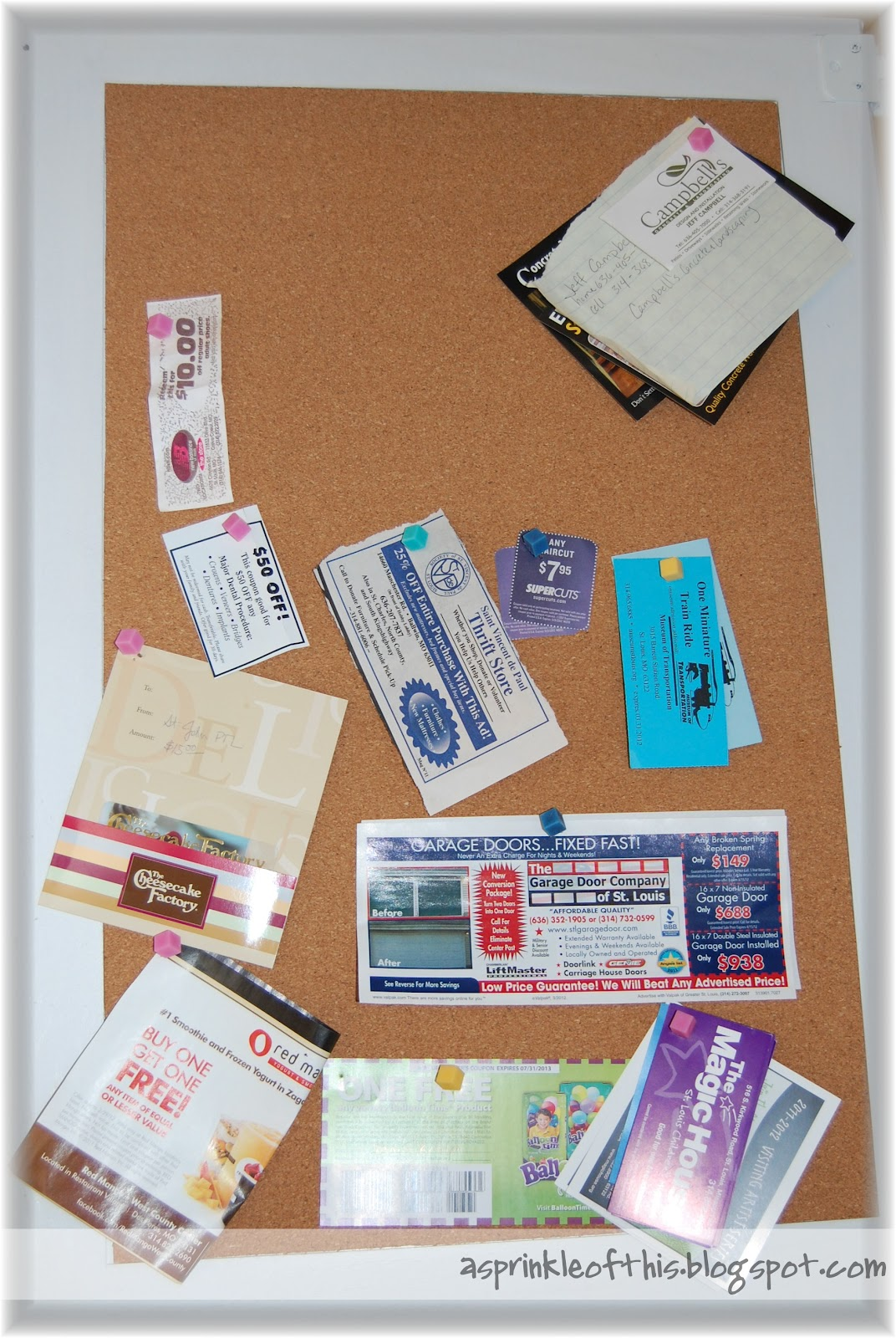 A sprinkle of this kitchen organization for Bulletin board organization