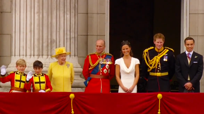 The Queen, Prince Philip, Pippa Middleton, Prince Harry and James Middleton at the balcony. YouTube 2011.