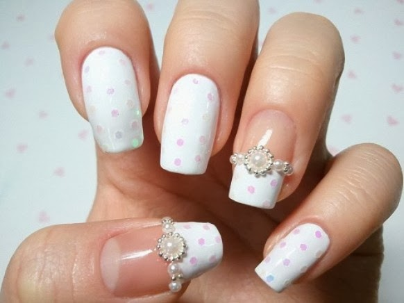 Simple Wedding Nail Art Design With Pink Spots
