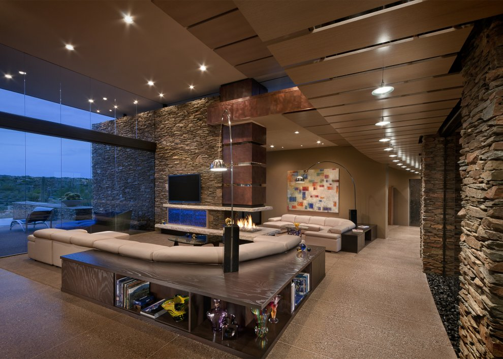 World of architecture beautiful modern house in desert for Interior rock walls designs