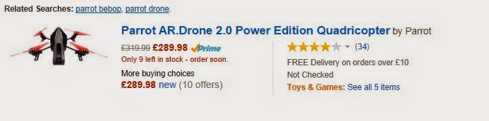 le Parrot AR.Drone 2.0 Power Edition Quadricopter by Parrot   mais pas le BeBop ..