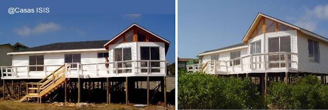 Casa residencial prefabricada de madera sobre pilotes en Chile