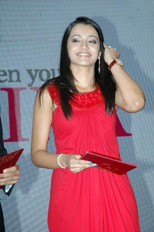 Trisha Latest Hot Photos in Red Dress cleavage