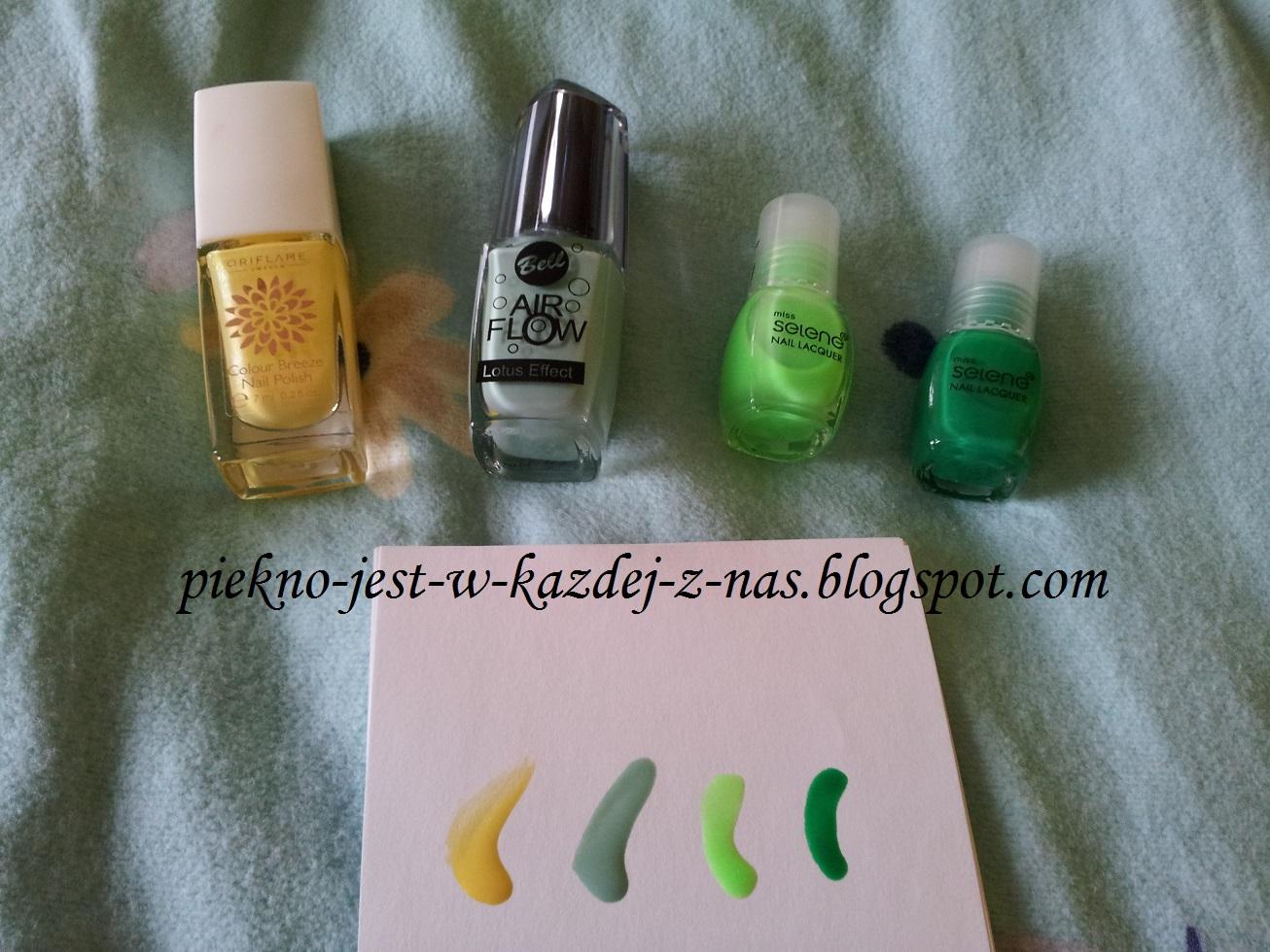 Moja kolekcja lakierów - zółty i zielony
