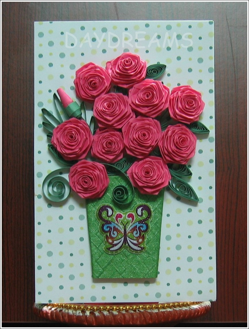 Daydreams folded roses i have been away for a while and i did take my quilling things with me a slotted tool 1cm width strips and glue is all that is required for folding a rose mightylinksfo