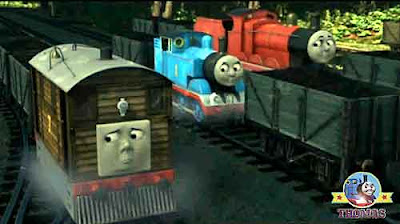 James and Thomas the tank engine Toby train tram brave voyage into the spooky forest whistling Woods