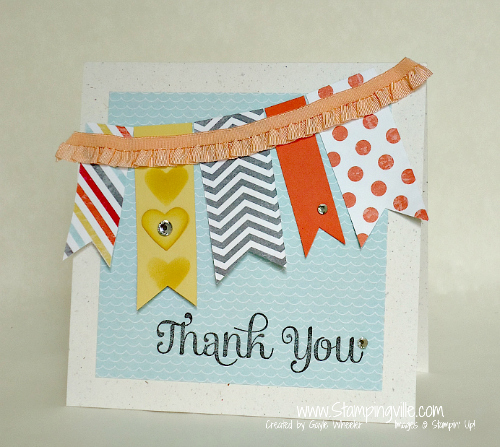 Thank You Ruffle Trim Banner Card by Stampingville