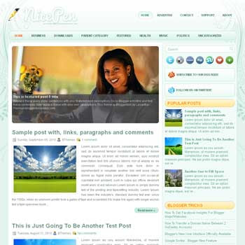 NicePen blog template. art design background blogger template. magazine style template blogspot. free blogspot template