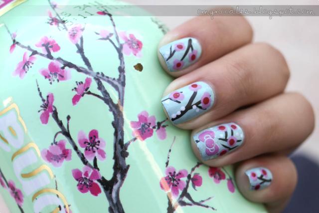 Cherry Blossoms x Hello Kitty Nails