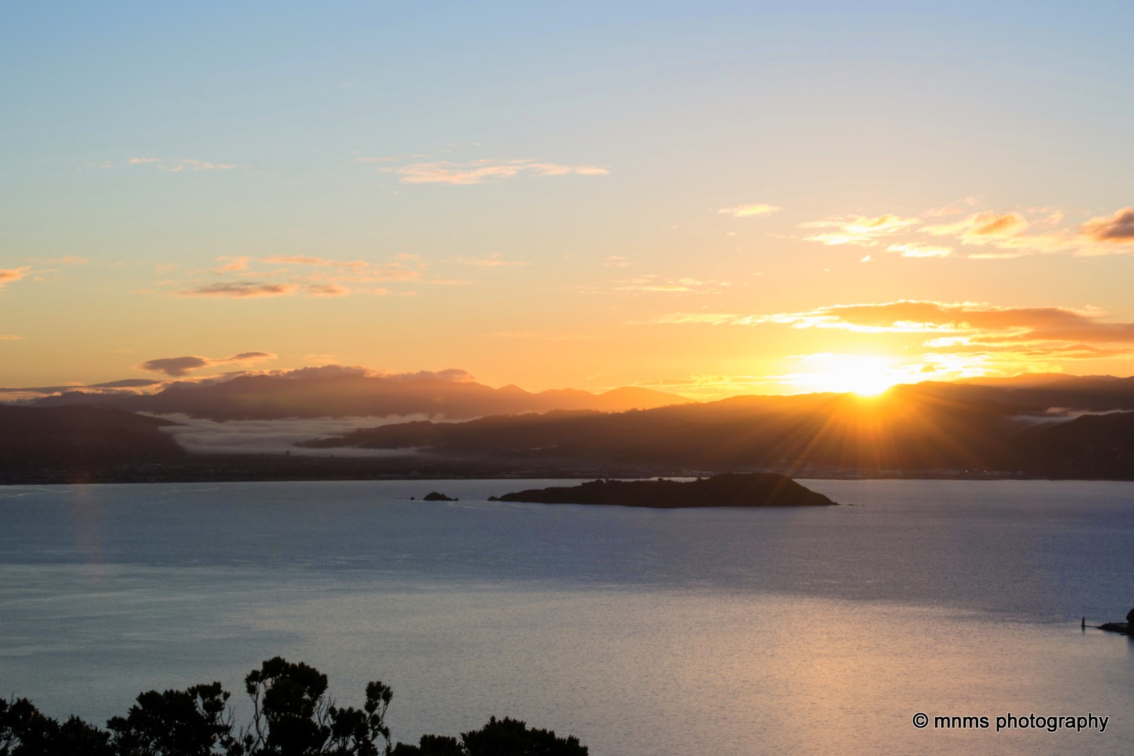 Sun rising over Somes Island