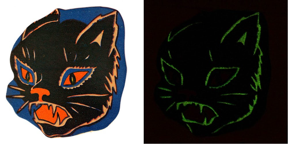 Decoration shown in light (left) and cat head outline glowing (right) in the dark
