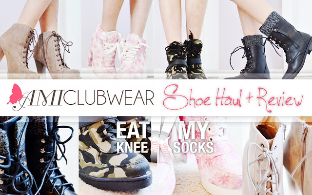 A review of my huge shoe haul from AMIClubwear, featuring their pink floral platform booties, camouflage-print sneaker wedges, tauper gradient-heel lucite platform booties, and knit-trim mid-calf lace-up boots.