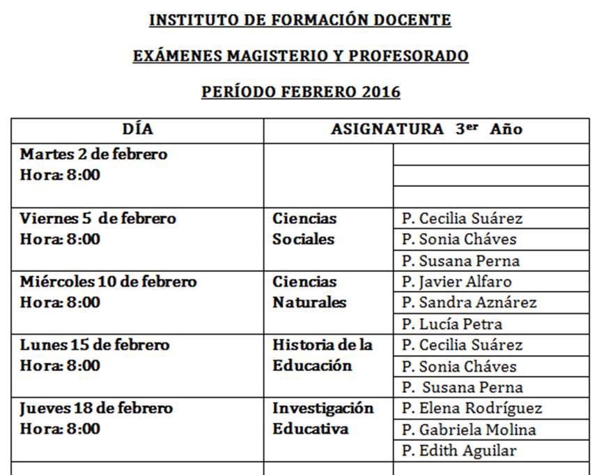 Instituto de formaci n docente calendario de ex menes for Instituto formacion docente