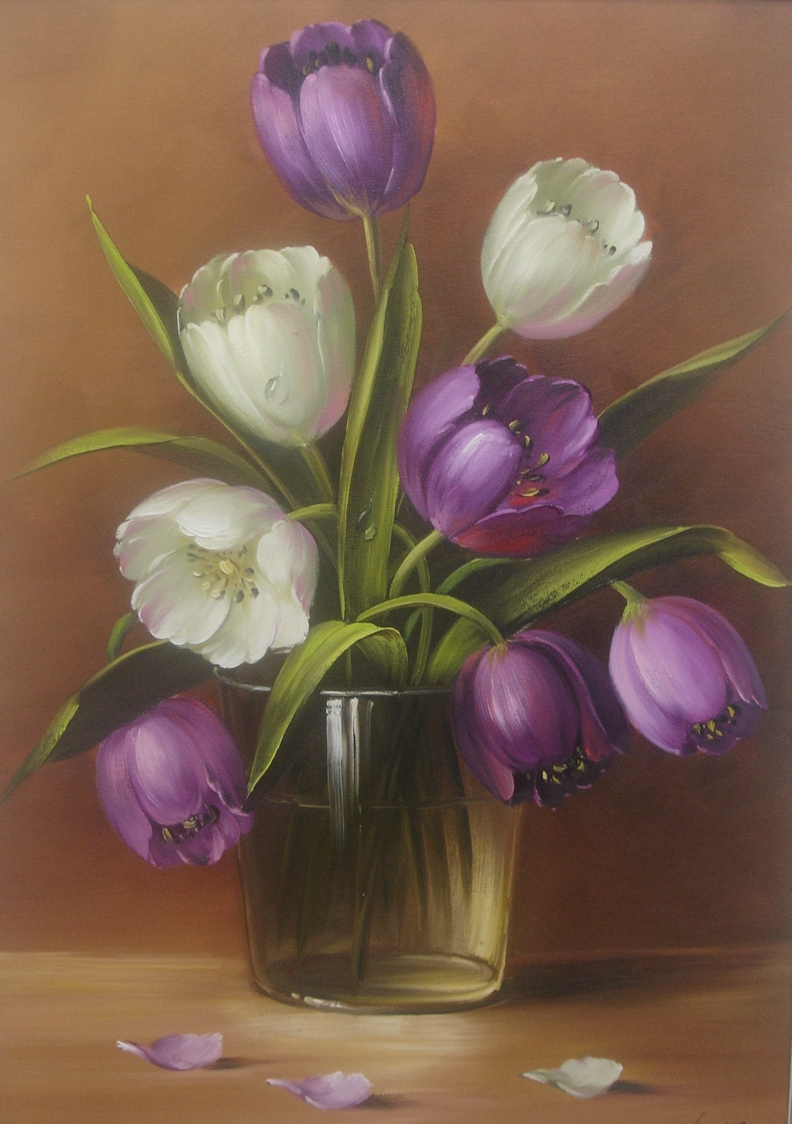 Pintura a leo sobre tela eduardo mecenero tulipas - Tulipas para ventiladores de techo ...