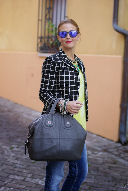 Asos Check blazer, Givenchy Nightingale, Romwe yellow blouse, Fashion and Cookies, fashion blogger