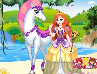 Juego de vestir a la princesa del caballo blanco