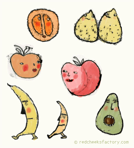 tropical fruit sketches for make art that sells e-course with Lilla Rogers