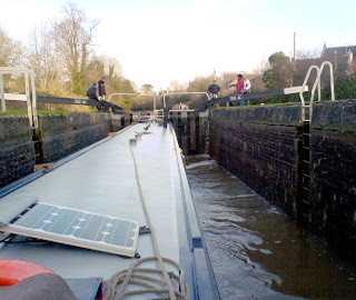 Kennet and Avon canal, The view from the helm of a narrowboat in a lock at Devizes, Wiltshire.