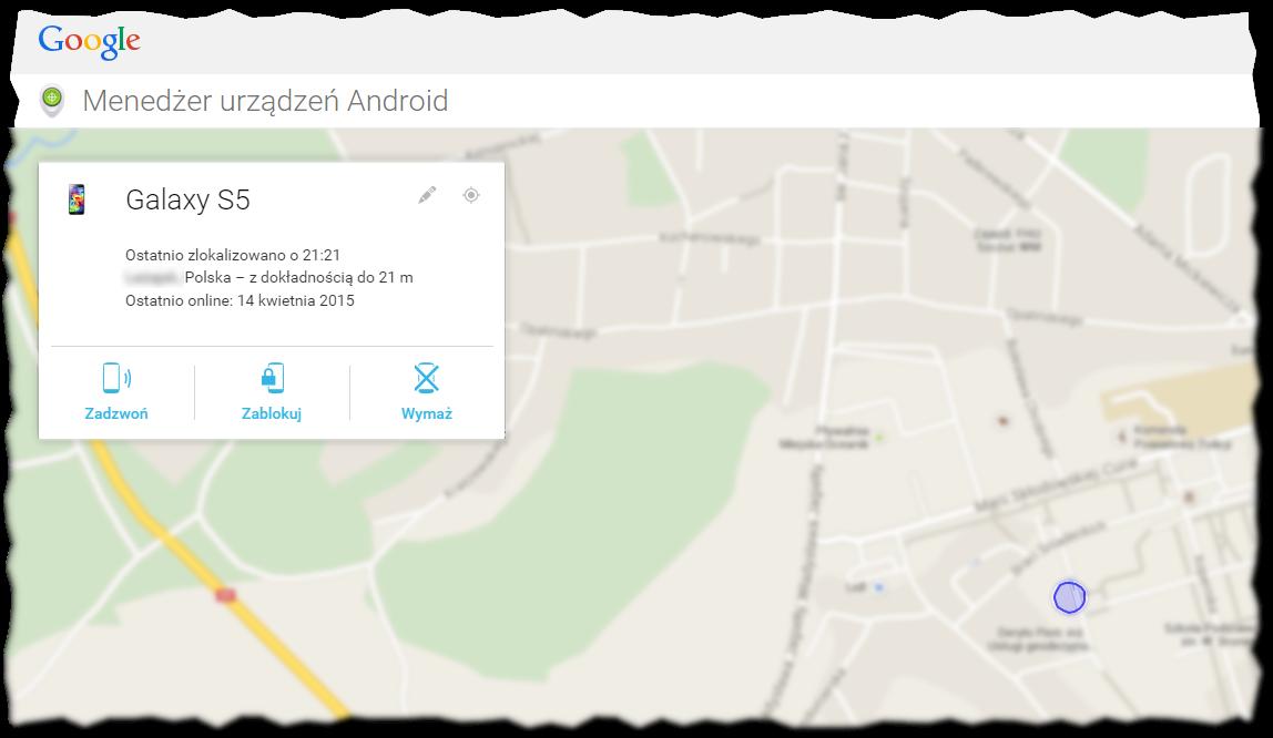 Menedżer urządzeń Android wyświetlający położenie telefonu oraz opcje możliwe do wykonania