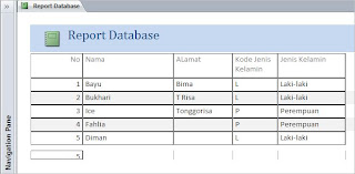 Report Database Microsoft office access
