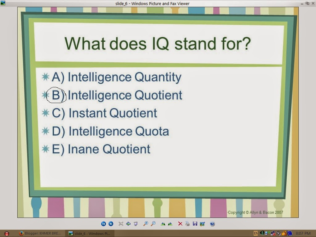 GENERAL NEWS: what does IQ stand for?