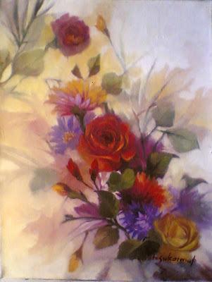 Lukisan bunga bunga,lukisan bunga mawar,lukisan bunga ros,lukisan bunga roe,lukisan karya toto sukatma,lukisan bunga cat minyak