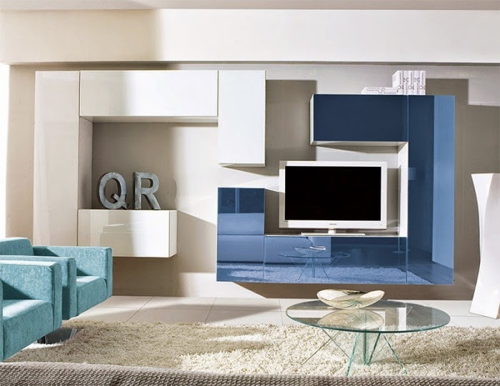 Wall Unit Designs For Small Living Room: Wall Unit Of Plastic Surface And  TV Board