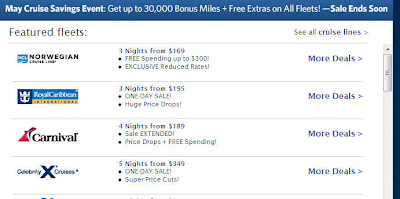 Now, if you don't have that much vacation time, you can still get at least 1,500 bonus miles when you book a cruise.  From what I saw on the landing page of the SkyMiles Cruises, the Norwegian Cruise Line looked pretty good.  It is offering up to $250 spending on board credit for any 3+ night cruise.  Here is the link to the offer.  Norwegian Cruise Line Ships & Deals at Delta Skymiles Cruises