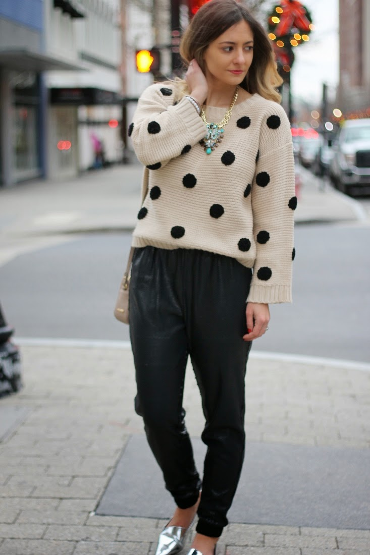 Sequin Jogger Pants & Polka Dot Knit Sweater