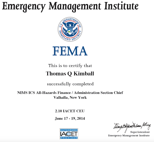 The (L-973) All Hazards ICS Finance/Administration Section Chief June 2014 at Valhalla, NY
