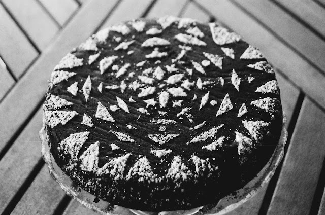 Chocolate Almond Snow Day Cake with Snowflake