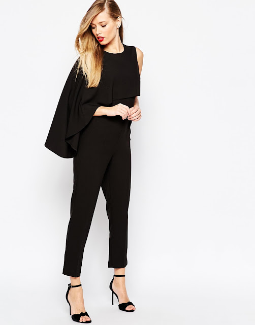 black cape jumpsuit, black jumpsuit with cape,