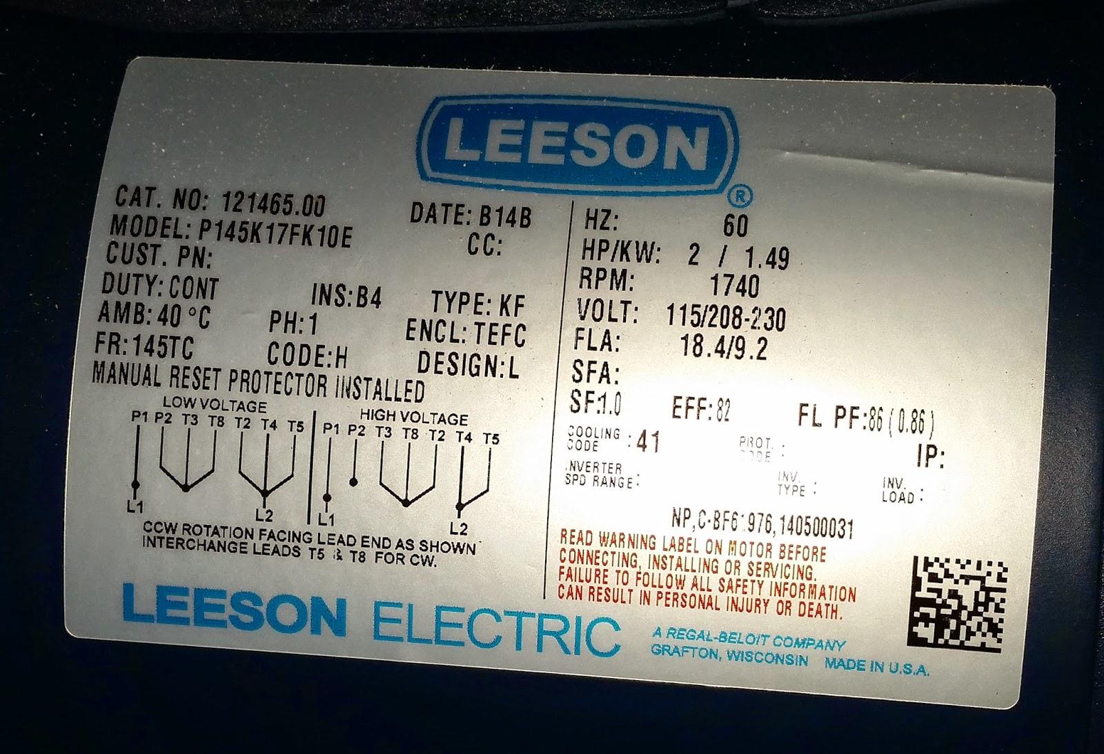 Wiring diagram single phase motor nameplate single phase for Leeson explosion proof motor