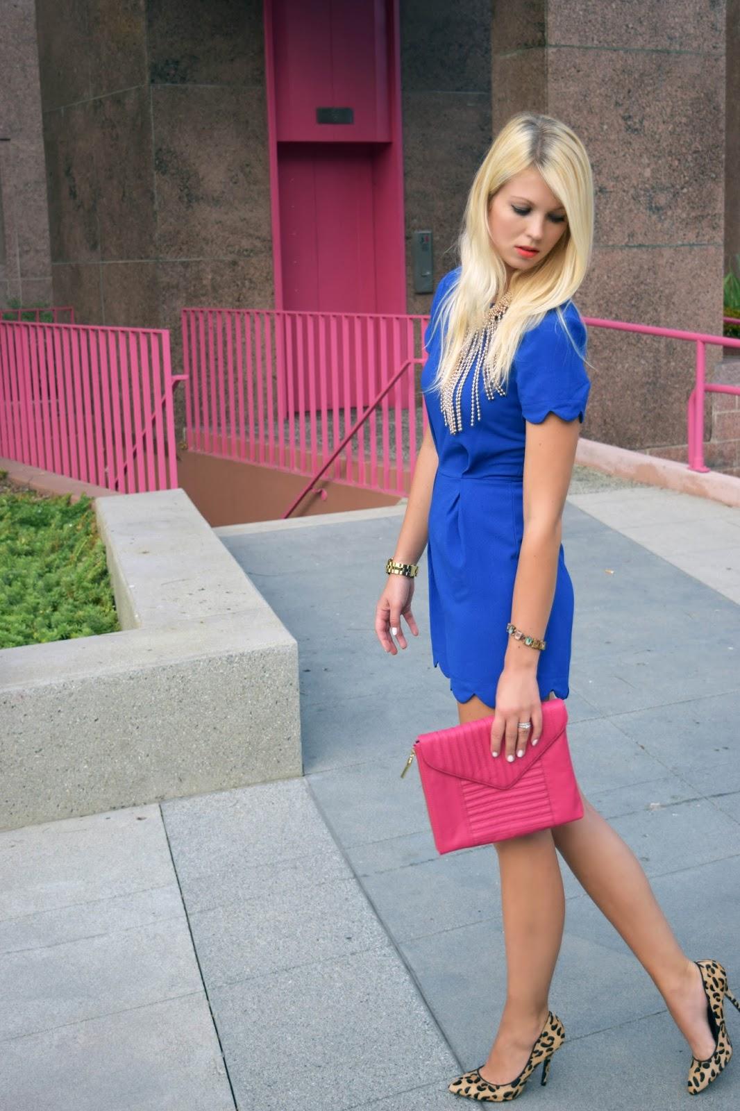 Blue, jumpsuit, romper, jumper, how to style a jumpsuit, pink clutch, leopard heels, gold statement necklace
