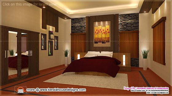 House interior ideas in 3d rendering kerala home design for Master bedroom designs kerala