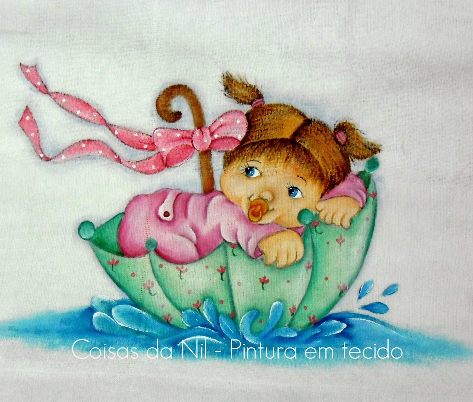 fralda pintada com menina dentro de um guarda-chuva