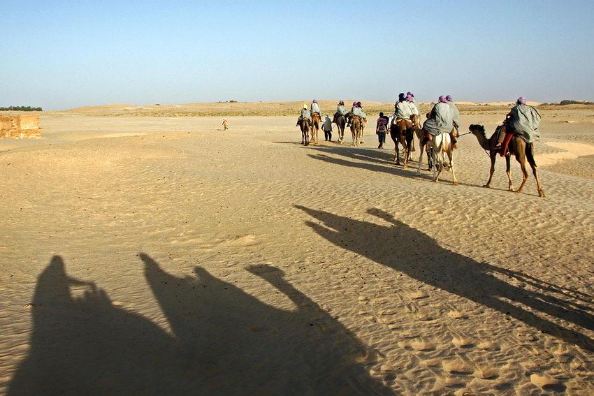 Paisagem com vários camelos e seus cavaleiros. Em primeiro plano a sombra de outros projectada na areia. Ao longe um miúdo a correr