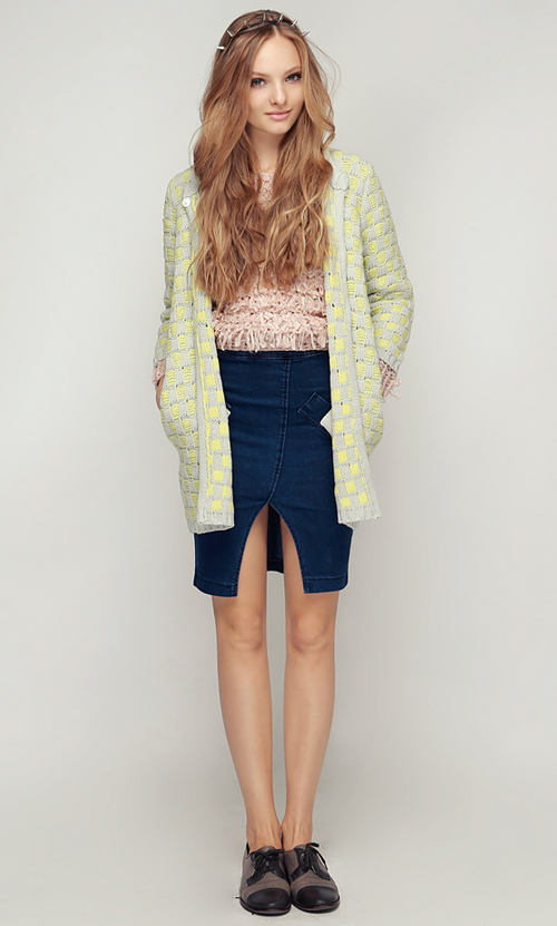 Gridded Knitting Cardi-Jacket