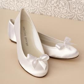 Bridesmaid Dresses White Rhinestone Satin Flower Girl Shoes