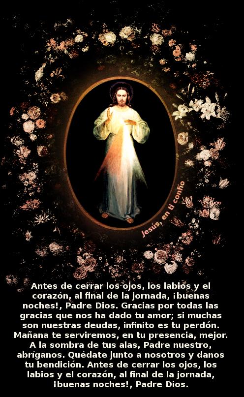 jesus misericordioso entre flores y una oracion