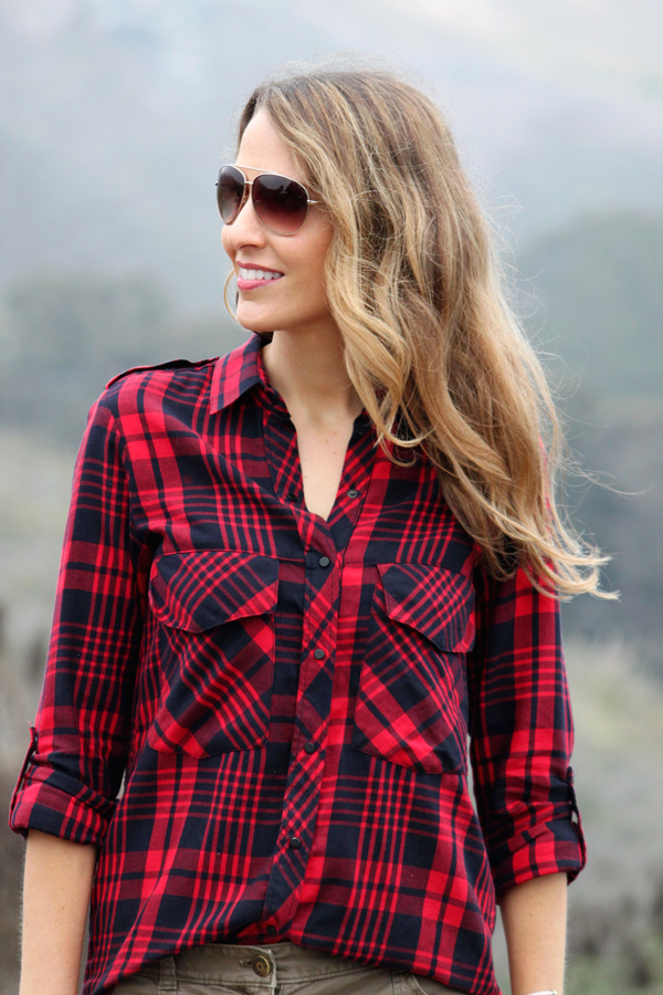 Red plaid shirt for fall