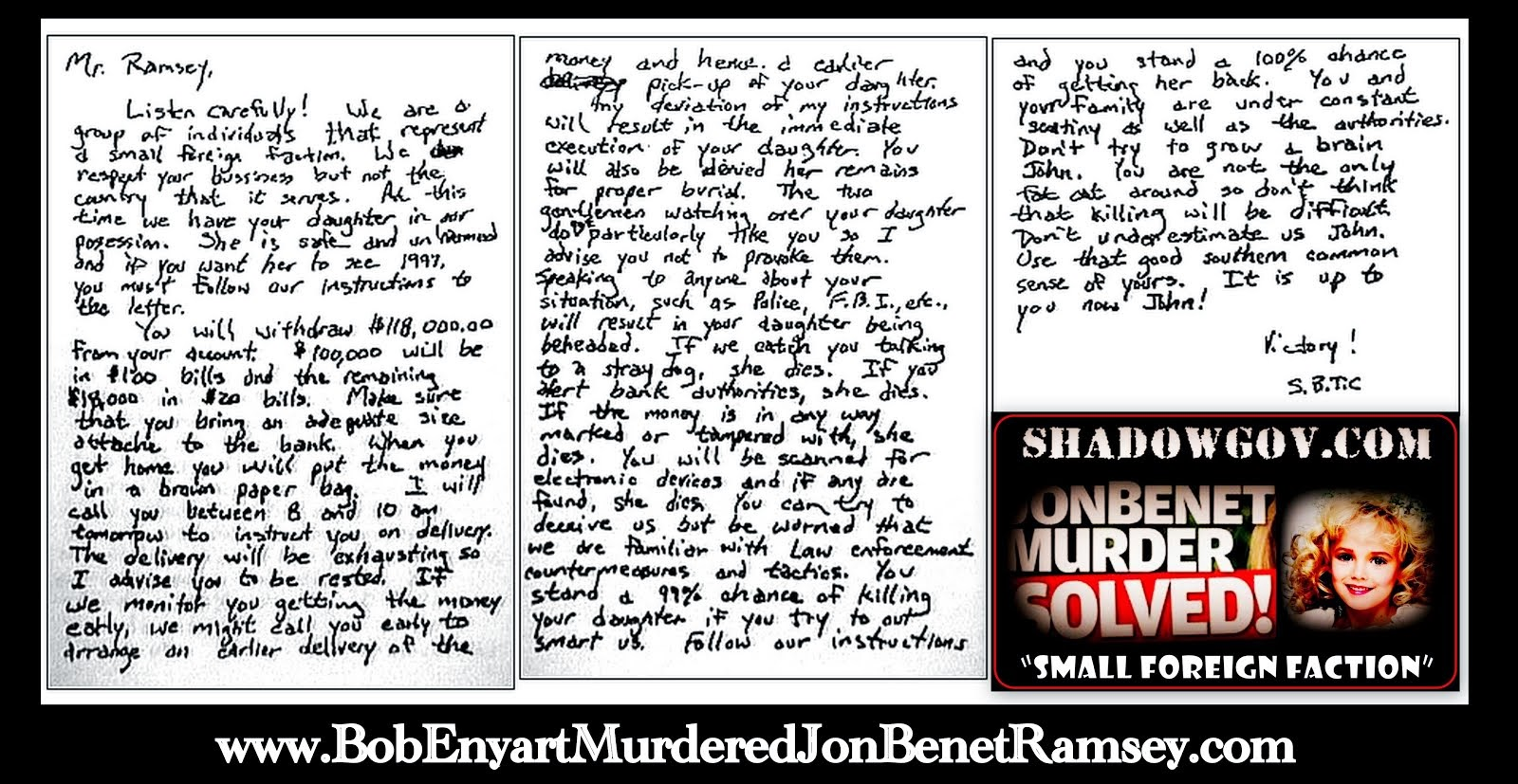 "The JonBenet Ramsey Ransom Note Analysis: ""Pastor"" Bob Enyart's ShadowGov = ""Small Foreign Faction"""