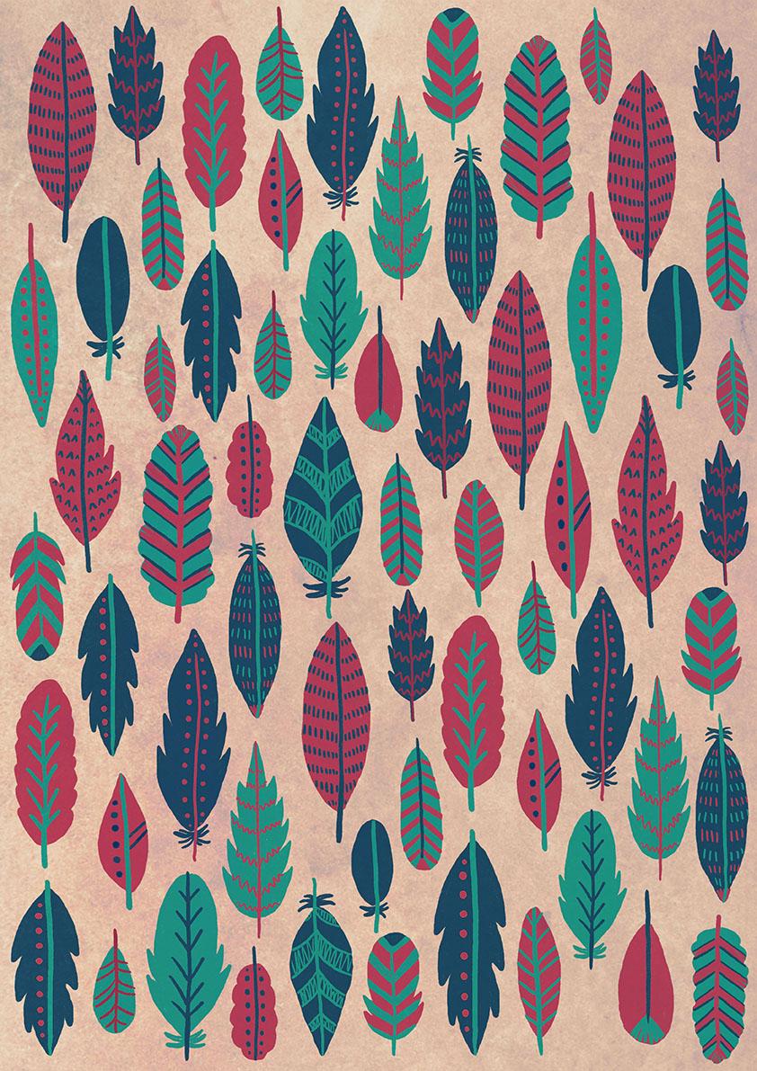 Emily rose illustration feather patterns for Arts et decoration
