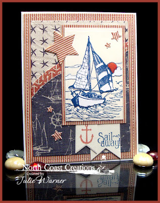 North Coast Creations Stamp sets: Sail Away, Our Daily Bread Designs Stamp sets: Anchor the Soul, ODBD Custom Dies: Pennants, Sparkling Stars, Sunburst Background