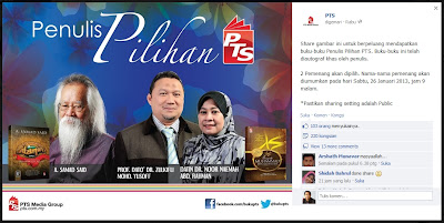 Iklan kongsikan gambar penulis pilihan PTS di Facebook