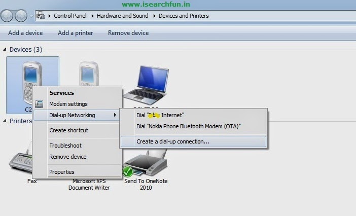 Connect Laptop to the Internet using Dial-up connection via bluetooth in Windows