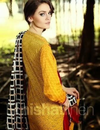 Simple Yellow Chiffon Dress 2014
