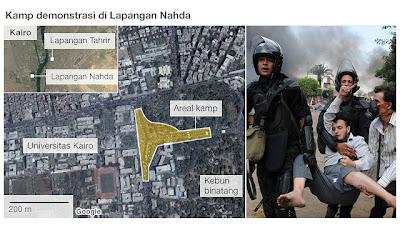 Peta Konsentrasi Demonstran di lapangan Nahda