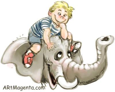 A huge pet elephant is a cartoon by artist and illustrator Artmagenta